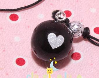Pregnancy Bola silver heart pattern black sequin