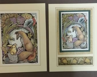 Fox pen and Ink drawing color pencil art cards. Nature,garden.rabbit,flowers,tree,forest,original.