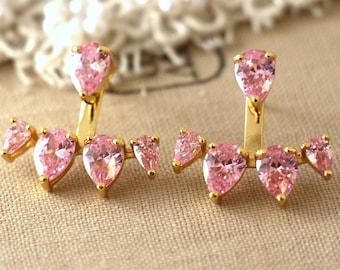Ear Jacket earrings, Pink earrings,Pink Rose ear jacket earrings Light Pink Ear Jacket Pink Rose Ear jacket earrings, Ping Stud earrings