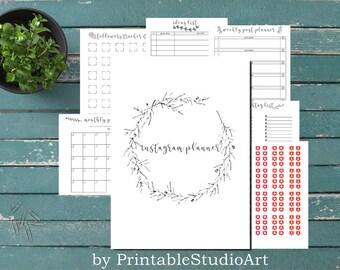 Printable instagram planner; Blogger planner; Post planner; Followers planner