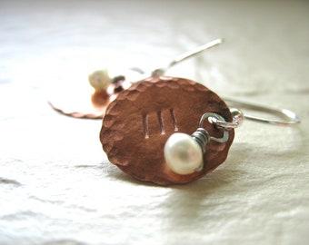 Pearl Earrings, Copper Pearl Earrings, Copper Jewelry, Pearl Jewelry, Handmade Artisan Jewelry