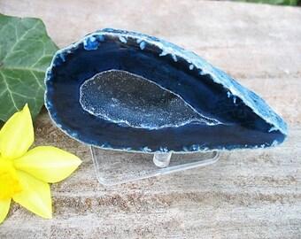 Brazilian agate geode half, agate nodule half with stand, agate paper weight, agate geode specimen, blu5a