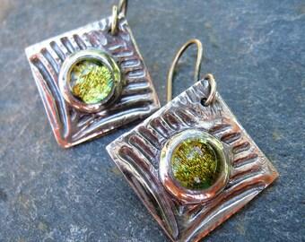 Dichroic Glass Earrings, Green Earrings, Fine Silver, Square Earrings, Textured Earrings, Diamond Shape, Silver dangle earrings, SweetTaBou