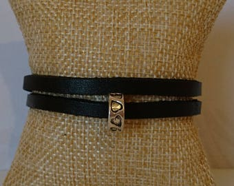 Genuine leather double bracelet