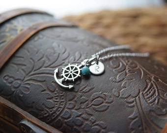 small silver anchor necklace - nautical necklace - friendship necklace