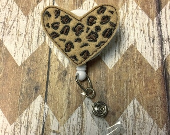 Cheetah Heart Badge Reel, Badge Clip, Retractable Name Badge, ID Holder, Teacher ID Clip, Badge Pull