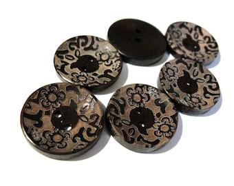6 dark brown wooden button with floral pattern 23mm