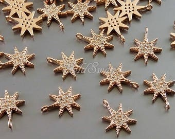 2 rose gold star burst CZ charms, cubic zirconia sun star pave pendants, rose gold jewelry P959-BRG