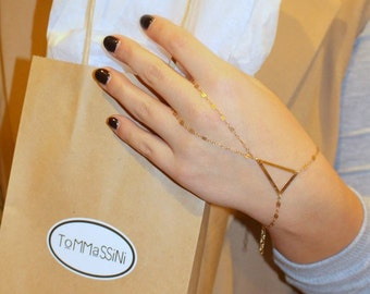 triangle hand chain, gold filled Slave Bracelet,Hand Harness,hand chain bracelet,ring slave bracelet, Finger Bracelet, valentines gift