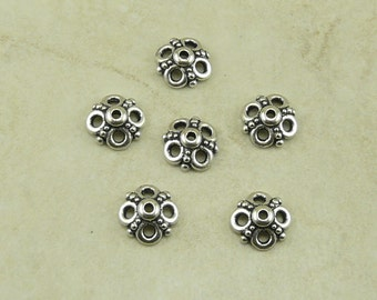 6 TierraCast 9mm Clover Open Ornate Bead Caps > Silver Plated  LEAD FREE pewter - I ship Internationally 5605