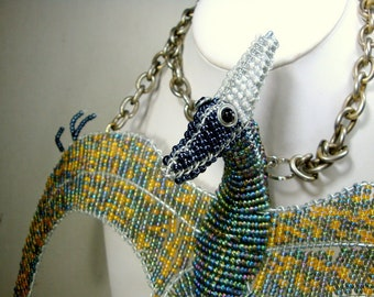GIANT Dinosaur Pendant Necklace, Beaded Pteradactyl on Chain, What Fun if You DARE, OOAK by Rachelle Starr