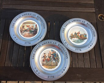The American Bicentennial Collection of 3 Commemorative Plates Made in Canton, Ohio (1976)