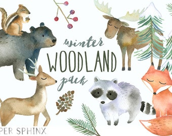 Winter Woodland Animals Clipart | Watercolor Forest Animals -  Winter Fox, Moose, Bear, Raccoon, Chipmunk, Deer Clip Art - Nursery Art