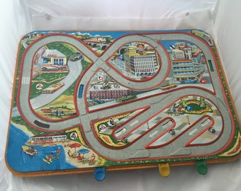 Vintage West German made Toy Racetrack