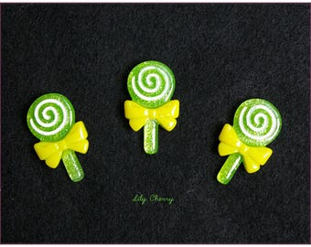 Cabochon resin gourmet green lollipop lollipop x 1