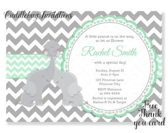 Green Elephant Baby Shower Invitation | Gender Reveal Baby Shower | Co-ed Baby Shower Invitation | Couples Baby Shower Invite Printable