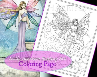 The Hope Stone - Coloring Page - Printable - Fantasy Fairy Art - Molly Harrison Fantasy Art - Digistamp - Digi Stamp, fairies, faery