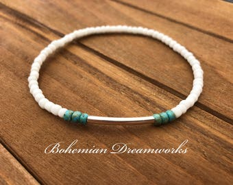 White Beach Anklet, Summer Anklet, White and Sea Green Anklet, Stretch Anklet, Beaded Anklet