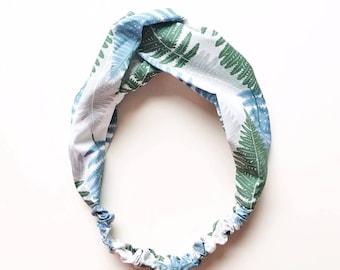 Phyllis Fabric Headband - Turban headband - Fern print - Boho headband - Womans headband - Adult headband - White fabric headband