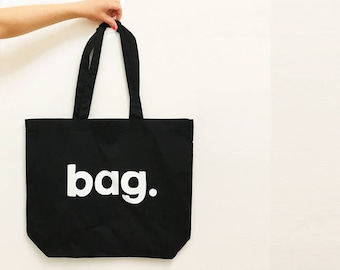 Bag, Typographical Cotton Tote Bag - Choose Natural or Black