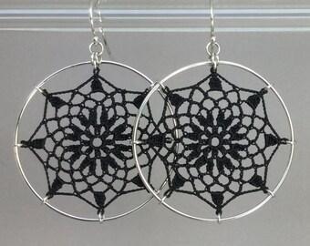 Mandala doily earrings, black silk thread, sterling silver