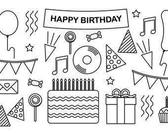 Printable Birthday Colouring Page