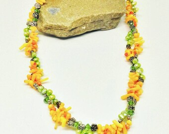 Imperfect Harmony - Coral and Freshwater Pearl Necklace