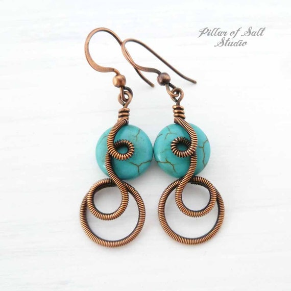 Copper Wire wrapped earrings wire wrapped jewelry handmade