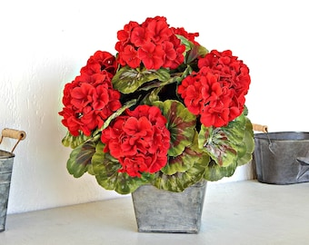 Red Flower Arrangement, Flower Centerpiece, Farmhouse Floral Arrangement, Faux Potted Geraniums