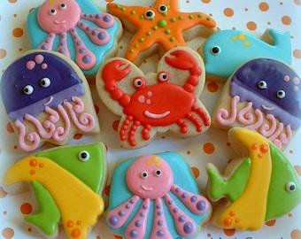 Sea Animal Cookies - Nautical Under the Sea Cookies - 1 dozen Birthday Cookies - Decorated Cookie Favors