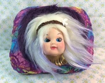 Plush Art Doll HIPPY DIPPY Dolly Handmade Rubber Face Doll Creepy Cute Home Decor Boho psychedelic tie dye