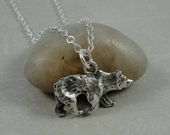 Grizzly Bear Necklace, Silver Plated Grizzly Bear Charm on a Silver Cable Chain