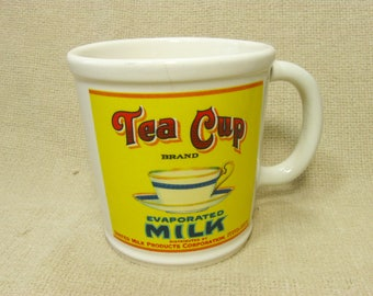 Vintage Large Tea Mug Evaporated Milk Coffee Mug, Tea Cup, 14 Oz