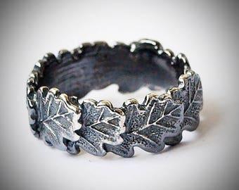 Size 6,25 US / Silver 925 / Oak leaf ring / Floral jewelry