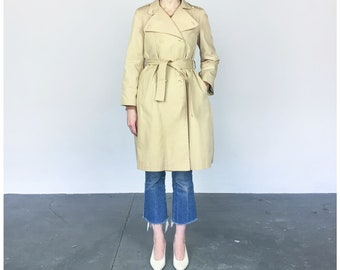 1970s Trench coat / Made in France / Belted Spring Rain Jacket (M)