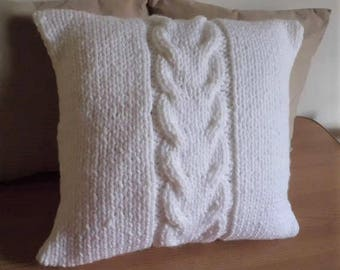 Super Chunky Pure White Cable Knit Pillow Cover, Bulky White 18x18 Pillow Case, Thick Yarn Hand Knit Pillow Cover, Decorative  Couch Pillow