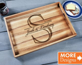 Personalized Serving Tray, Engraved Wooden Tray, Mother In Law Gift, Etched Wooden Tray, Monogram Gift, Christmas Tray, Wooden Tray