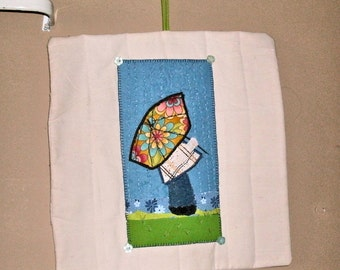A rainy day art quilt wall hanging