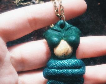 Chinese Mythology Necklace , Picture Jasper Pendant , Mythological Jewelry