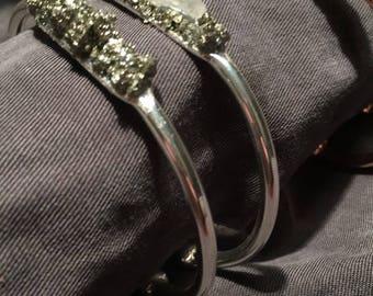 Boho Pyrite Brass Cuff Bracelet rose gold silver or gold