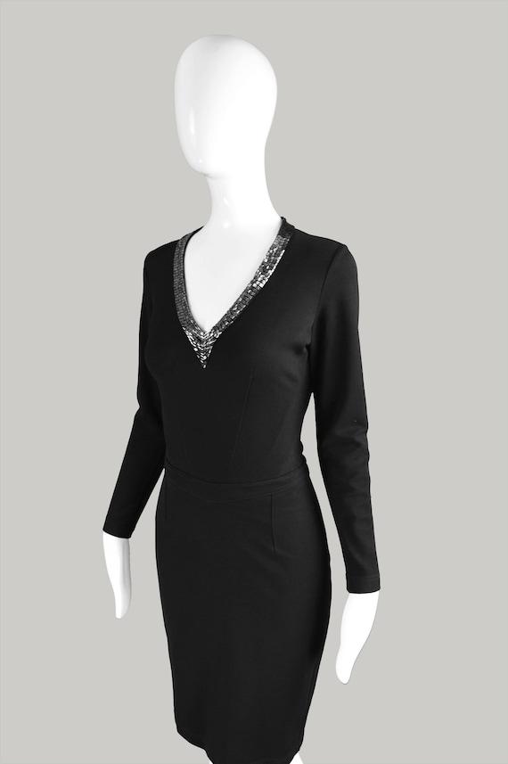 Knit Double JASPER Dress Black Party Ponte Jersey LBD Dress Dress Dress Beaded Black Knit 90s Neckline Stretch Little Dress Vintage CONRAN xqwfSP5vW