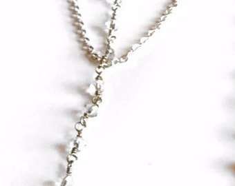 Silver Rosary Lariat Necklace | Lariat Necklace | Rosary Chain Necklace | Layering Necklace