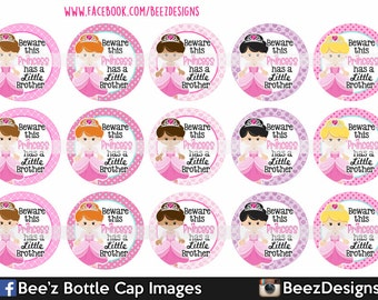 Instant DOWNLOAD- Princess has a lil brother- 1 inch Bottle cap Images- 4x6 Digital Sheet