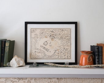 Map of Hyrule: Aged, Handmade, Hand drawn, Authentic Gift