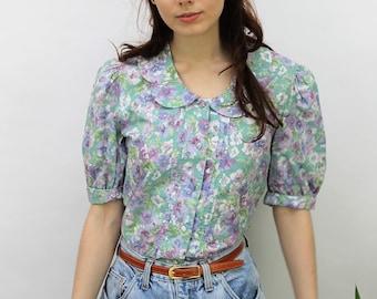 1980s Laura Ashley Floral Blouse Size UK 10, US 6, EU 38