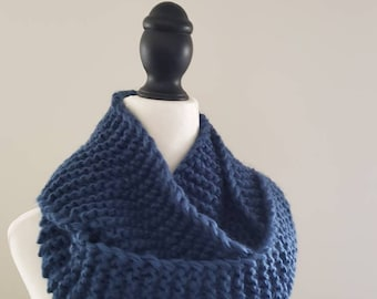 Plain, chunky infinity scarf! Loop, circle scarf - denim blue. Hand knitted, acrylic yarn.
