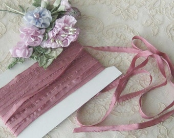 Vintage French Lettace Edge Dusty Rose Ribbon - Ribbonwork, Sewing & Crafts - 100% Rayon