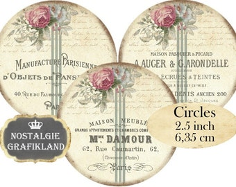 Shabby Chic Logo Circles 2.5 inch French Printable Download digital collage sheet C141