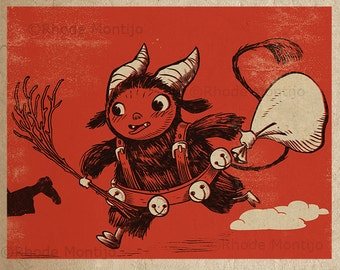 Vintage Style 8 x 10 inch PRINT by Rhode Montijo- KID KRAMPUS (no font version)