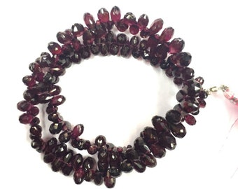 "Natural Faceted 14"" Strand Red Garnet Teardrop Shape Beads 4-6mm Gemstone Beads"